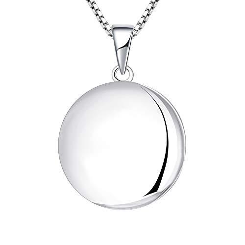 YL Damen Kette Medaillon Zum Öffnen für Bilder 925 Sterling Silber Foto Anhänger Medaillon Halskette Schmuck