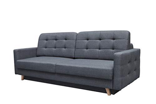 mb-moebel Schlafsofa Kippsofa Sofa mit Schlaffunktion Klappsofa Bettfunktion mit Bettkasten Couchgarnitur Couch Sofagarnitur - Carla (Dunkelgrau)