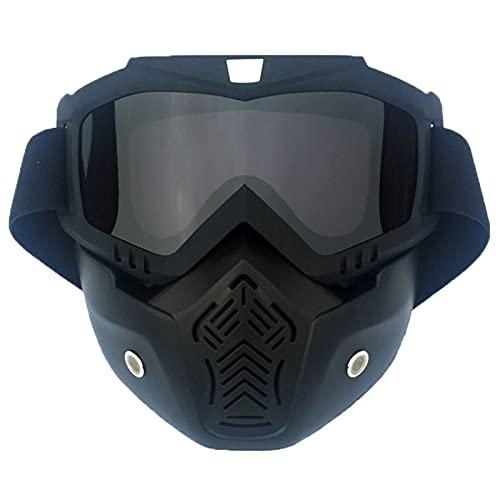 Gafas de motocross con máscara desmontable para la cara, antiviento antipolvo antiniebla para carreras fuera de carretera airsoft paintball con correa ajustable para hombres y mujeres (A3)