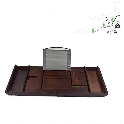 Jklt Badkuip dienblad bamboe bamboe bad caddie lade inschuifbaar leesframe wijnrek plank voor boeken smartphone praktische badkamer geschenken