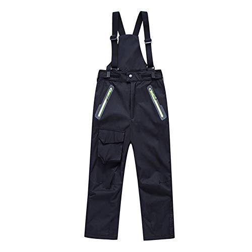 BeIM Kinder Skihose Schneehose Jungen Mädchen Funktionshose mit abnehmbaren Hosenträgern und Reißverschlusstaschen Innenfutter Größe 110-150cm (Schwarz-1, XXL-140)
