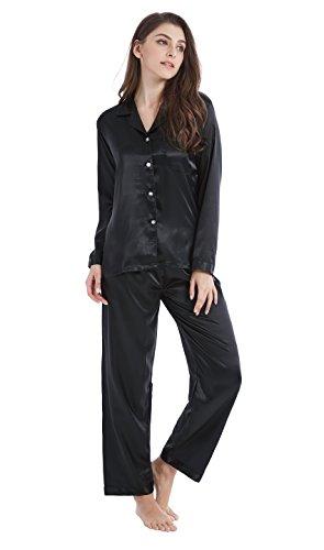 Tony & Candice nattkläder för kvinnor klassisk satin pyjamasset, nattkläder