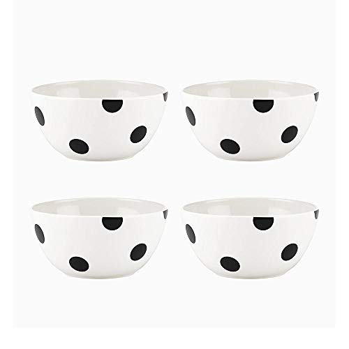 KATE SPADE 879459 Black Deco Dot 4-Piece All-Purpose Bowl Set, 4.7 LB