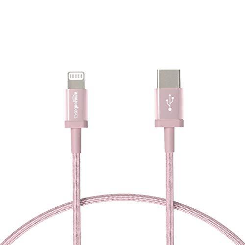 AmazonBasics - Cavo di ricarica Lightning/USB-C, certificato MFi, in nylon intrecciato, per iPhone 11 Pro/11 Pro Max, oro rosa, 30,48 cm