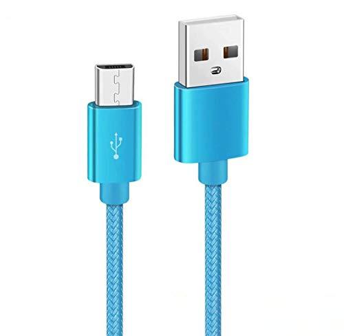 Kit Me Out Kabel Micro USB Compatibele met Huawei P9 Lite Mini [2M] 2 Meter [3.1A Snel Opladen] In Sterk Gevlochten Nylon Snel Opladen & Synchronisatiekabel Datakabel Kabel (Lichtblauw)