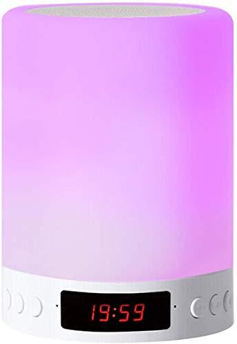 Lámpara de altavoz Bluetooth, luz nocturna Smart LED con radio FM de reloj de alarma, junto a la lámpara de mesa, interruptor de luz de noche con 3 modos regulables táctiles y 7 colores