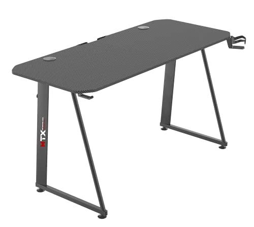 Tavolo scrivania da Gaming Desk Postazione Computer Carbonio porta Cuffie Portabicchiere Laptop da Gioco Scrivania studio Gestione Cavi Ergonomica Gamer