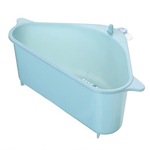 SHUJINGNCE Multifunktionale Ecke Waschbecken Drain Rack Regal Saugnapf Senke Drain Basket Bowl Schwammhalter Küche Badezimmer-Speicherorganisator (Color : Blue)
