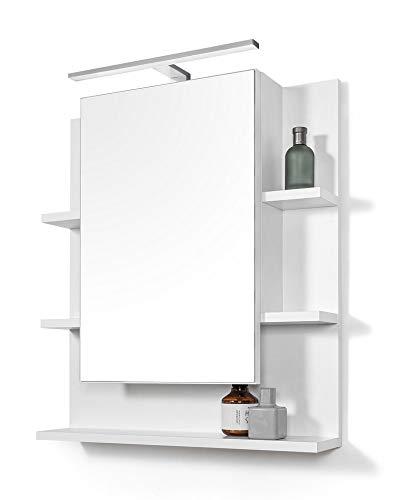 DOMTECH Großer Spiegel 60x70 Badezimmer Spiegelschrank mit Ablagen und LED Beleuchtung, Badezimmerspiegel, Weiß Spiegelschrank