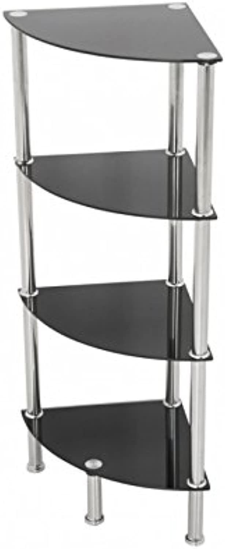 AVF S64-A Corner 4 Tier Shelving Unit in Black Glass & Chrome