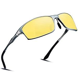 偏光サングラス スポーツ メンズ 夜間 運転 ドライブ イエロー レンズ 紫外線カット uv400 軽量 夜釣り 夜用 ナイトドライブ ナイトドライビングサングラス 6128-3
