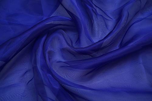 BHAIRAV_ENTERPRISE Tissue Organza Fabric for Dress, Cloth Material & Garments for Use in Fancy Garments Making Frocks, Gowns Designer Dresses and Also Wrapping, Party, Wedding Decorations (1 Meter) (Medium Blue)
