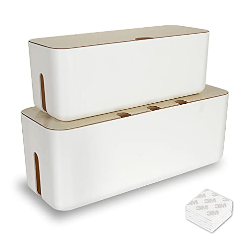 Shanqian - 2 cajas de almacenamiento rectangular para cables, organizador de cable,...