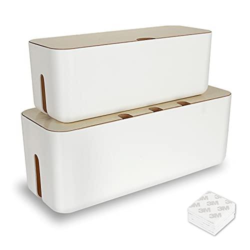 Shanqian - 2 cajas de almacenamiento rectangular para cables, organizador de cable, multienchufe, tapa para cables de madera y plástico ABS, grande y pequeño, con 20 pegatinas 3M de doble cara