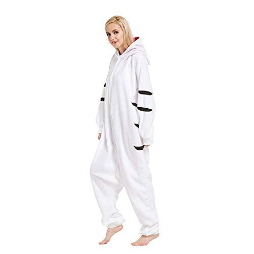 ZHHAOXINPA Unisex Pyjamas, Weißer Tiger Onesie Jumpsuits Halloween Kostüm Pyjama Oberall Hausanzug Kigurum Schlafanzug, L