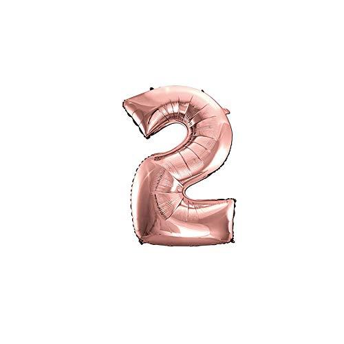 NOBRAND Globo Número 2 Oro Rosa, Decoración Boda Aniversario, Globo de Cumpleaños Fiesta Suministros Decoración Globo Party, SE Pueden INFLAR con Helio