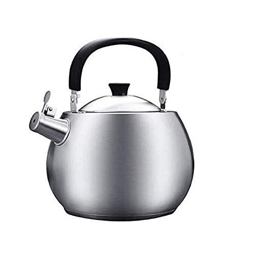 GJJSZ Kettle Edelstahl Whistling Kettle 4.5L Gas Niture Induktionsherd Gas Universal Kettle,Silber,4.5L