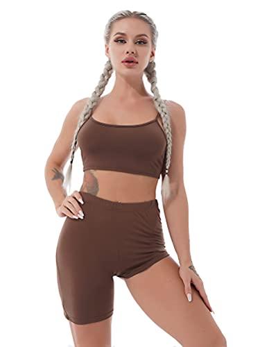 YOOJIA Mujeres Ropa Deportiva Informal de Verano de 2 Piezas Traje de Yoga Gimnasia Correr con Pantalones Cortos Conjunto Chándal Café A M