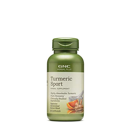 GNC Herbal Plus Turmeric Sport 60 Capsules Absorbable Turmeric for Fueling Recovery