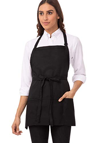 Chef Works unisex adult Three Pocket Apron apparel accessories, Black, 24-Inch Length by 28-Inch Width US