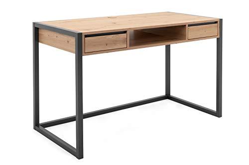 lifestyle4living Schreibtisch in Braun, Anthrazit, 120 x 60 cm | Bürotisch mit 2 Schubladen und Ablage-Fach im Industrial Style