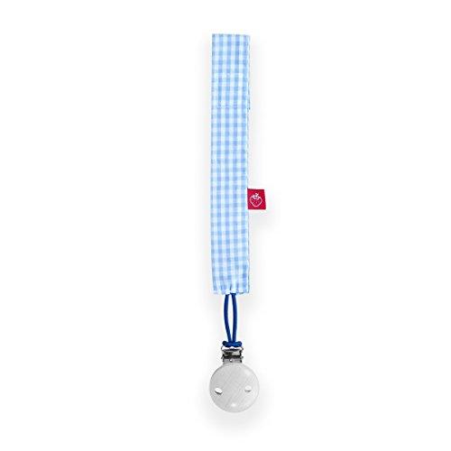 La fraise rouge 4251005601327 Pascal Attache Sucette avec attache sucette, bleu clair/blanc/motif vichy
