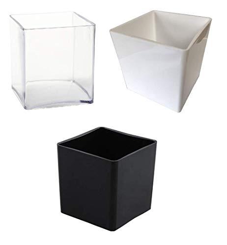 INERRA 15cm Acryl kubus vaas - Multipack van 3 Kleuren - Zwart, Wit & Helder