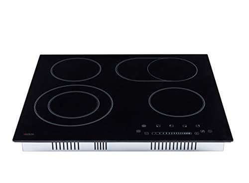 AREBOS Glaskeramikkochfeld   7200 W   4 Kochfelder   59 cm   autark   inkl. Dual-Kochzone und Bräterzone   mit Sensor Touch   Kindersicherung   Überhitzungsschutz   Autoabschaltung