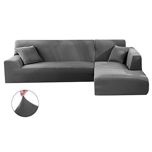 Dightyoho Funda de sofá elástica Chaise Longue Ajustable en poliéster en Forma de L se compone de 2 Piezas con 2 Fundas de cojin (3 plazas+ 2 plazas, Gris)