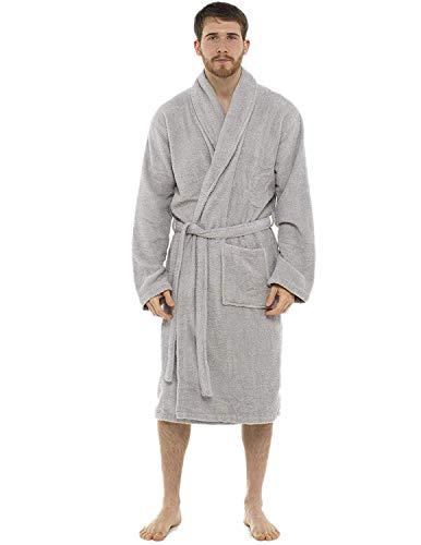 CityComfort Albornoz de baño para Hombres de algodón 100% Terry Albornoz Albornoz Baño Ideal para Gimnasio Ducha SPA Hotel albornoz Tamaño de Vacaciones M/L, L/XL, 2XL, 3XL y 4XL (M/L, Gris Claro)