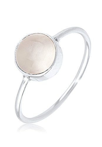 Elli Ring Damen Solitärring mit Mondstein Pastell in 925 Sterling Silber (White, 56 (17.8))