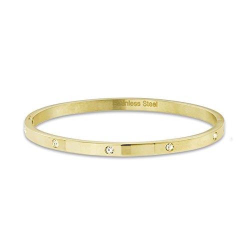 inSCINTILLE Bangles Bracciale Rigido in Acciaio Inossidabile con Punti Luce in Zirconia Cubica (Oro)