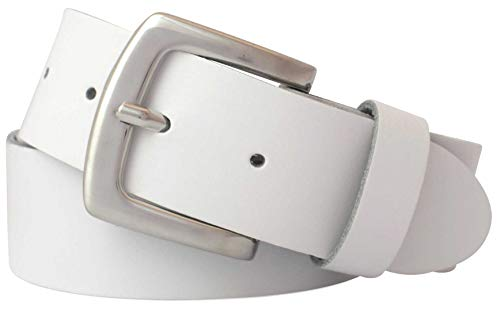 GREEN YARD Gürtel Herren und Damen - Ledergürtel aus echtem Leder 4 cm breit # 428 – weiß – 100 cm