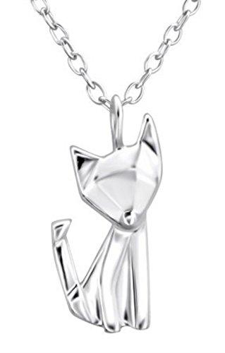 FaithOwl - Collar con colgante de zorro de origami en plata de ley 925