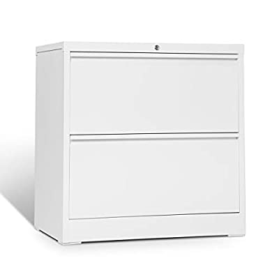 """3 Drawer Lateral File Cabinet with Lock, Full Metal Filing Cabinet for Home and Office, Stainless Steel, 30"""" L x 17.7"""" W x 40"""" H, White"""