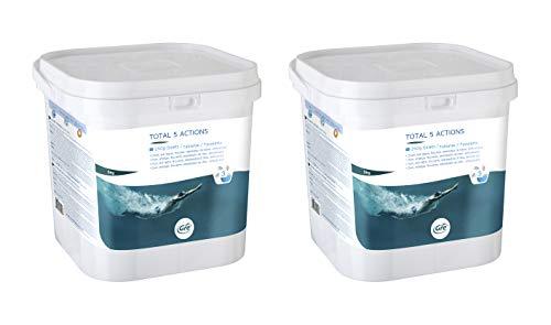 Gre 76036X2 - Pack de pastillas multiacción para el tratamiento completo de la piscina, 5 acciones, 2 x 5 kg