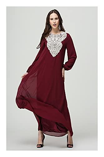 Zeroing Moda de Encaje musulmán Vestido de Manga Larga de Cintura Suelta Falda Larga (Color : Red Wine Color, Tamaño : XL)