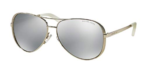 Michael Kors MK5004 CHELSEA Aviator 1001Z3 59M Silver-Tone/Silver Mirror Polarized Sunglasses For Women +FREE Complimentary Eyewear Care Kit