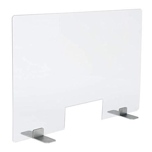 PLEXIDIRECT Spuckschutz Plexiglas Schutzwand Thekenaufsatz Trennwand mit Durchreiche Acrylglas Schutz, LEMI Edelstahl, 100 x 75 cm (BxH)