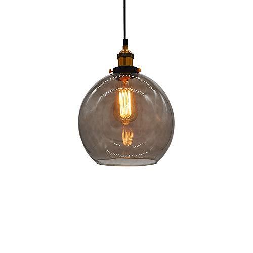 Huahan Haituo Glas Anhänger Licht Vintage Industrie Metall Finish klar Glas Kugel Runde Schatten Loft Anhänger Lampe Retro Deckenleuchte Vintage Lampe(Rauch grau, 20CM)