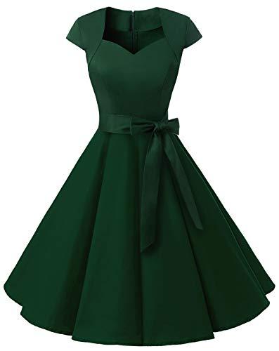 MuaDress 1960 Damen Vintage 50er Rockabilly Retro Kleider Eleganter Faltenrock mit Flügelärmeln Dunkelngrün XS