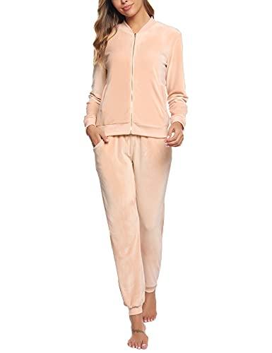 Akalnny Chándal Conjunto Mujer de Terciopelo Informal Pijamas Trajes Chaquetas de Manga Larga con Cremallera + Pantalones de Cintura Alta Albaricoque