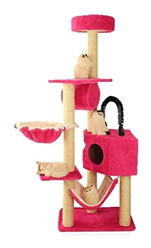 HLZY Cat Tower Popular Cat Toy Cat Trees and Towers Cat Castle Toys, Cat Climbing Wall Shelf Cat House Cat Tree Cat Toy Jumping Cat Catching Climbing Pet Furniture (Color : Pink)