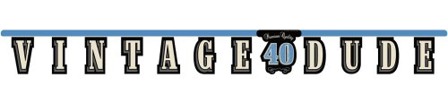 Creative Converting Vintage Dude 40th Birthday Jointed Letter Banner - 299467