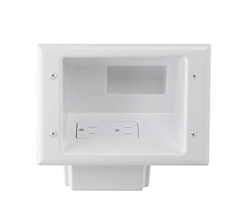 DATA COMM Electronics 45-0071-WH Recessed Low Voltage Mid-Size Plate with Duplex Receptacle