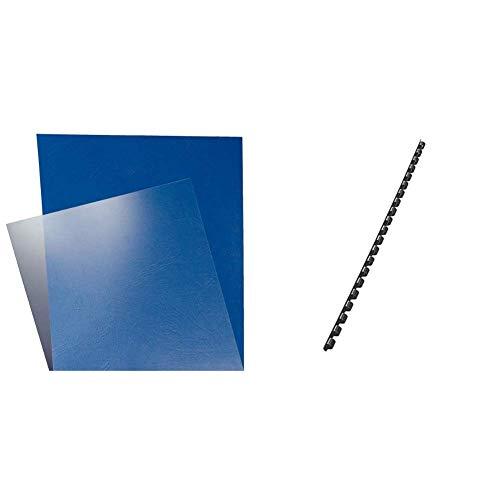 Leitz 33681 Bindesysteme Deckblätter (A4, 180 Micron) 100 Stück glasklar & Plastikbinderücken (A4, Kunststoff, 6 mm, 25 Blatt) 100 Stück schwarz