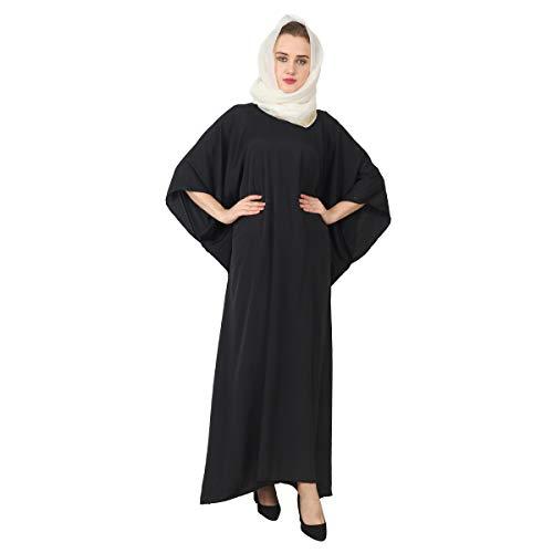 Modern Abaya Kaftan Muslim Women Style Jilbab Caftan Hijab Dress Long Maxi Kimono Evening Gown (Classic Black)