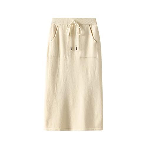 WQZYY&ASDCD Falda De Tubo Paquete De Cintura Alta para Mujer Falda De Tubo Tejida A La Cadera Split Midi Fashion Casual Slim Pocket Solid Streetwear Talla nica Albaricoque