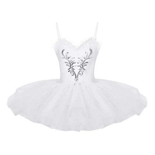 iEFiEL Damen Ballettkleid Ballettanzug Ballett Trikot Tanzkleid Weiß Tanz-Kostüm mit Tüll Rock Gr. XS S M L XL (XX-Large, Z Weiß)