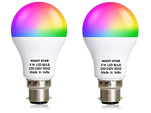 NIGHT STAR Light 7 Color in 1 Led Bulb with 9 Functions for Home Party and Disco led Bulb (Red/Pink/Blue/Yellow/Green/Sky Blue/White) New Technology Switch Based (Pack of 2)